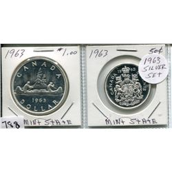 1963 CNDN SILVER DOLLAR & 50 CENT PC (SILVER)