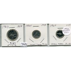 1963 SET OF 3 CNDN COINS (25 CENT PC, 1964 & 1967 10 CENT PCS) *SILVER*