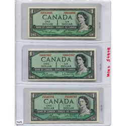 1954 SET OF 3 CNDN BANK NOTES (2 ONE DOLLAR & 1 FIVE DOLLAR)