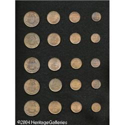 Guernsey. Five Choice Bronze Sets, KM10 Double 1889H, KM9 2 D Five Choice Bronze Sets,