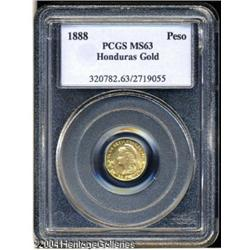 Honduras. Republic gold Peso 1888, KM56, MS63 PCGS, very choice w Republic gold Peso 1888,