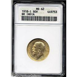 India. George V gold Sovereign 1918-I, KM525A, MS62 ANACS. George V gold Sovereign 1918-I,