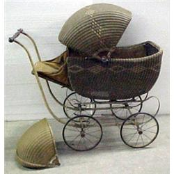 Heywood Wakefield Wicker Baby Carriage Original C