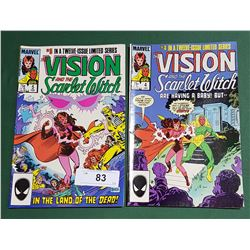 2 VINTAGE COLLECTIBLE VISION & THE SCARLET WITCH $0.75 COMICS