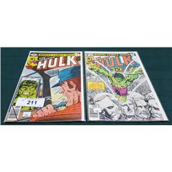 2 VINTAGE COLLECTIBLE THE INCREDIBLE HULK $0.40 COMICS