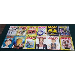 12 VINTAGE COLLECTIBLE MAD MAGAZINES INCLUDING 1 CRACKED MAGAZINE