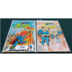 2 VINTAGE COLLECTIBLE SUPERMAN ACTION COMICS $0.50 & $1.00 COMICS