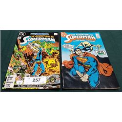 2 VINTAGE COLLECTIBLE THE ADVENTURES OF SUPERMAN $0.75 COMICS