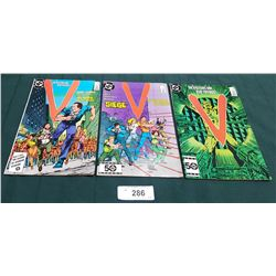 "3 VINTAGE COLLECTIBLE ""V"" $0.75 COMICS"