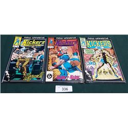 3 VINTAGE COLLECTIBLE KICKERS INC. $0.75 COMICS