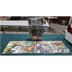 "4 VINTAGE COLLECTIBLE THE INCREDIBLE HULK $0.40, $0.50 & $2.99 COMICS & MARVEL LEGENDS 7.25"" HULK AC"