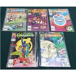 5 VINTAGE COLLECTIBLE XCALIBUR $1.50 COMICS