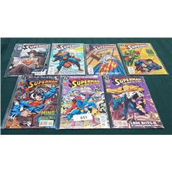 7 VINTAGE COLLECTIBLE SUPERMAN THE MAN OF STEEL $1.50 & $1.95 COMICS