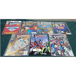 7 VINTAGE COLLECTIBLE SUPERMAN THE MAN OF STEEL $1.00-$3.50 COMICS