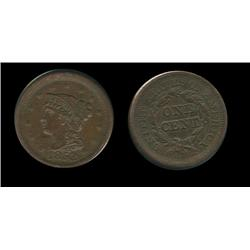 1853 Large Cent. AU-55. Slant 5's. Chocolate brown. Trends $140