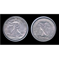 1941s Walking Half Dollar. AU-55+. Great detail and luster