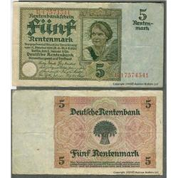 Germany 1926 5 Rentenmark note