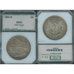 1883-O Morgan Dollar PCI MS63; Interesting original toning!