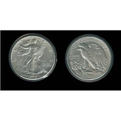 1944-D Walking Liberty Half Choice AU; Bright mintmarked WW II issue AU retail $20, Unc $40