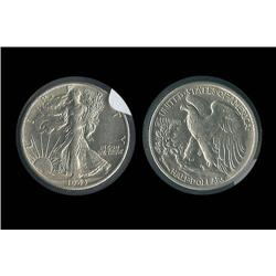1943-S Walking Liberty Half  Nice AU; Another bright mintmarked piece, AU trends $20
