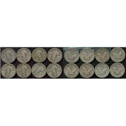 Lot of 8 different Standing Liberty Quarters G+; Nice lot with a few mintmarked!