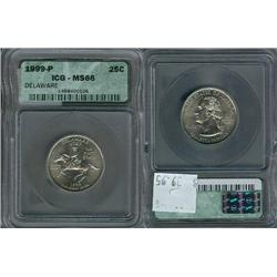 1999-P Delaware Quarter ICG Graded MS66; Gem circulation dates are hard to find, trends $40