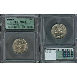 1999-P Pennsylvania Quarter ICG Graded MS66; Gem circulation dates are hard to find, trends $50