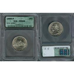 1999-P New Jersey Quarter ICG Graded MS66; Gem circulation dates are hard to find, trends $50