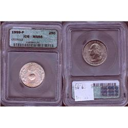 1999-P Georgia Quarter ICG Graded MS66; Gem circulation dates are hard to find, trends $90