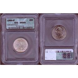 1999-P Connecticut Quarter ICG Graded MS66; Gem circulation dates are hard to find, trends $55