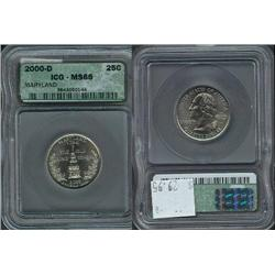 2000-D Maryland Quarter ICG Graded MS66; Gem circulation dates are hard to find, trends $30