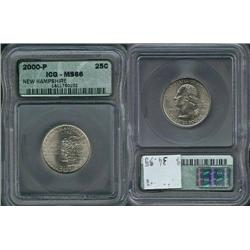 2000-P New Hampshire Quarter ICG Graded MS66; Gem circulation dates are hard to find, trends $35