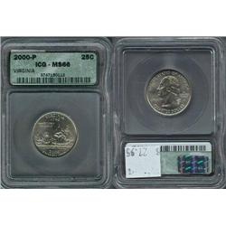 2000-P Virginia Quarter ICG Graded MS66; Gem circulation dates are hard to find, trends $28