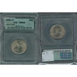 2001-P New York Quarter ICG Graded MS66; Gem circulation dates are hard to find, trends $35