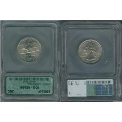 2001-P North Carolina Quarter ICG Graded MS66; Gem circulation dates are hard to find, trends $25