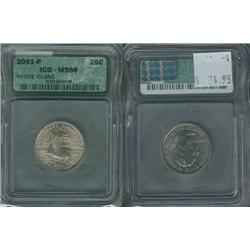 2001-P Rhode Island Quarter ICG Graded MS66; Gem circulation dates are hard to find, trends $25