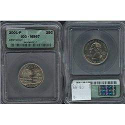 2001-P Kentucky Quarter ICG Graded MS67!; Gem circulation dates are hard to find, trends $60