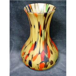 CZECH SATIN ART GLASS VASE IN MULTICOLORED ON A GOLD BASE. 8 .