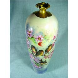 SIGNED CS GERMANY TALL HANDPAINTED BIRD AND FLORAL THEMED VASE WITH RUFFLED GOLD RIM. 17""