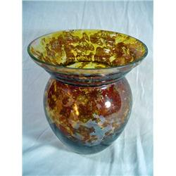 "ANTIQUE ART GLASS VASE IN A TORTOISE SHELL LOOK 18.5"" X 7""."