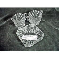 "SET OF FOSTORIA CREAM & SUGAR 3"" AMERICANA PATTERN WITH ENGLISH CUT GLASS NUT DISH 4"" X 4""."