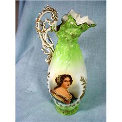 VICTORIA AUSTRIA HANDPAINTED SIGNED PORTRAIT PITCHER MADRE DE MONTPENSIER WITH INTICATED HANDLES AND