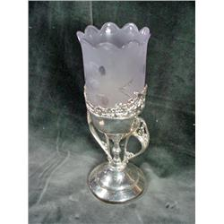 VICTORIAN SATIN GLASS HAND CUT CELERY DISH IN AN ORNATED FOOTED SILVERPLATE BASE. 10.5 INCHES.