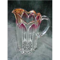 "WEB HANDPAINTED CASED GLASS VASE WITH A FLORAL MOTIF IN A FOUR FOOTED OPENWORK METAL STAND. 12""."