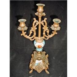 "THREE LIGHT BRONZE AND HANDPAINTED PORCELAIN CANDELABRA DEPICTING A BEAUTIFUL SCENE. 15.5"" X 4.5""."