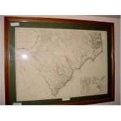"FRAMED AND MATTED OLD WORLD MAP OF NORTH CAROLLINA INDIAN FRONTIERS 29"" X 38"","