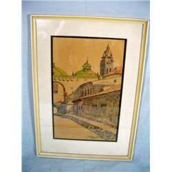 "FRAMED PEN AND INK OF MADRID STREET SIGNED BY ARTIST 18"" X 12.5"""