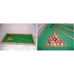 "VINTAGE TOY BILLIARD TABLE WITH FELT TOP, 2 POOL CUES, RACK, AND BALLS. 29"" X 16"""