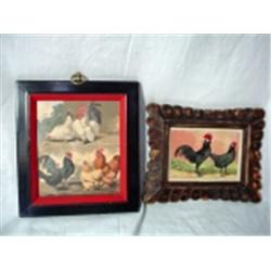 "PAIR OF FRAMED PRINTS , ONE ""POULTRY"" BY WRIGHT 10"" X 9"", THE OTHER ""TWO ROOSTERS"" 8"" 10""."