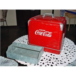 "AUTHENTIC COCA COLA ICE CHEST CIRCA 1950'S WITH ICE CHEST 17""X 17"" X 12""."